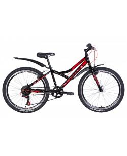 """Велосипед ST 24 """"Discovery FLINT Vbr рама 13"""", с крылом, черный - красный (OPS-DIS-24-225)"""