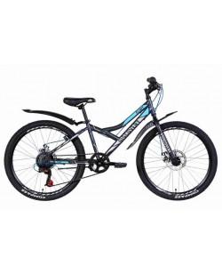 """Велосипед ST 24 """"Discovery FLINT DD рама 13"""", с крылом, черный / синий / серый (OPS-DIS-24-231)"""