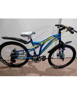 "Велосипед ST 24 ""Discovery ROCKET АМ2, DD рама 15"", с крылом, синий / желтый (OPS-DIS-24-255)"