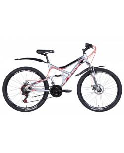 """Велосипед ST 26 """"Discovery CANYON DD, рама 17.5"""" с крыльями, серебристый / красный (OPS-DIS-26-352)"""