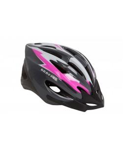 Шлем велосипедный HEL128 черный / розовый (HEAD-003)