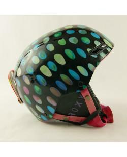 Горнолыжный шлем Roxy черный глянец в цветные шарики (H-080)